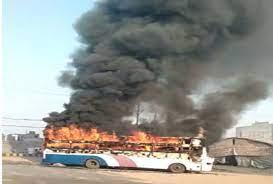 दिल्ली जा रही स्लीपर बस में भीषण आग